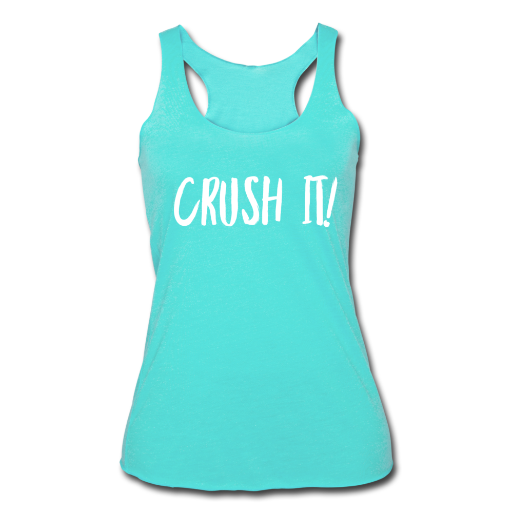 Crush It! Women's Tri-Blend Racerback Tank - turquoise