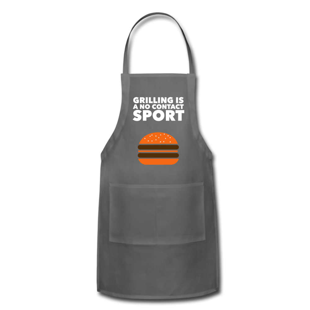 Grilling Is A No Contact Sport Adjustable Apron - charcoal
