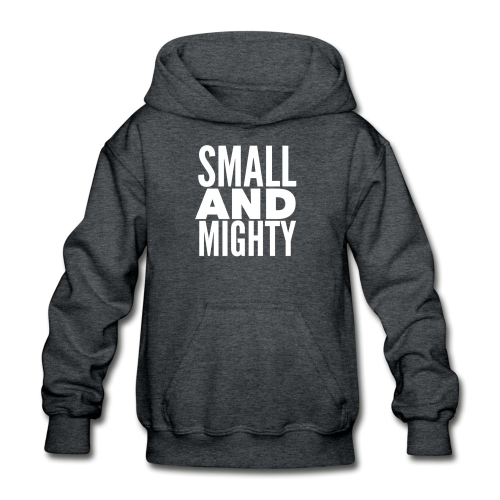 Small And Mighty Gildan Heavy Blend Youth Hoodie - deep heather