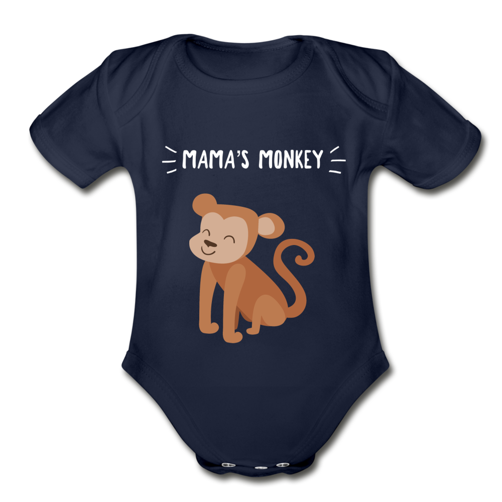 Mama's Monkey Organic Short Sleeve Baby Bodysuit - dark navy