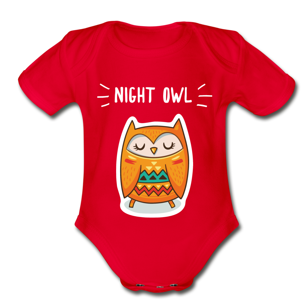 Night Owl Organic Short Sleeve Baby Bodysuit - red