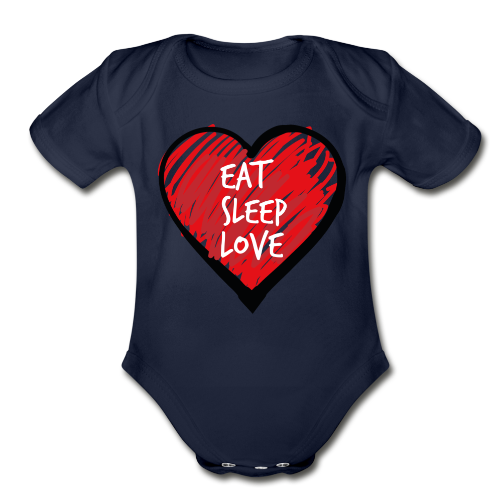 Eat Sleep Love Organic Short Sleeve Baby Bodysuit - dark navy