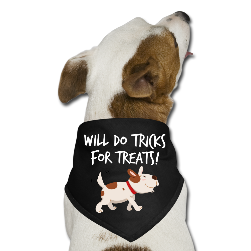 Will Do Tricks For Treats Dog Bandana - black