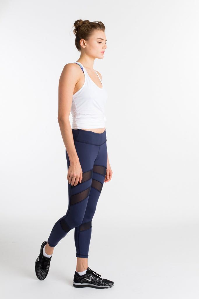 2c7a0dcddc4556 Navy Mesh-Paneled Compression Workout Leggings | Nualime Activewear