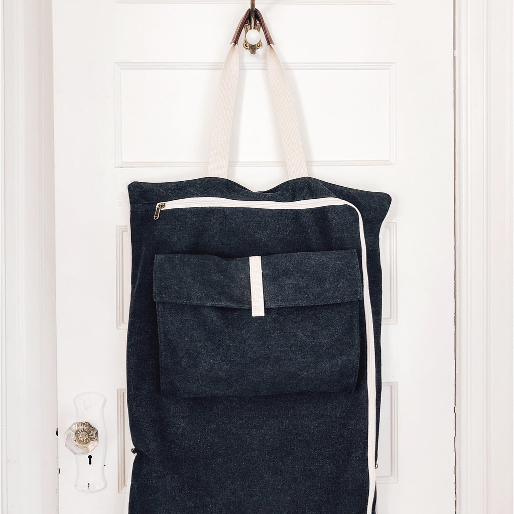 Washed Charcoal Garment Tote Hanging