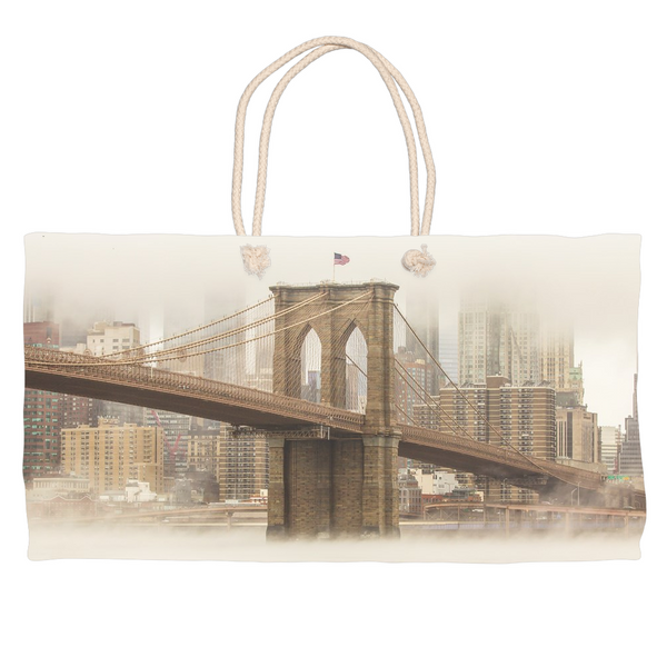 Brooklyn Bridge Fog Weekender Totes