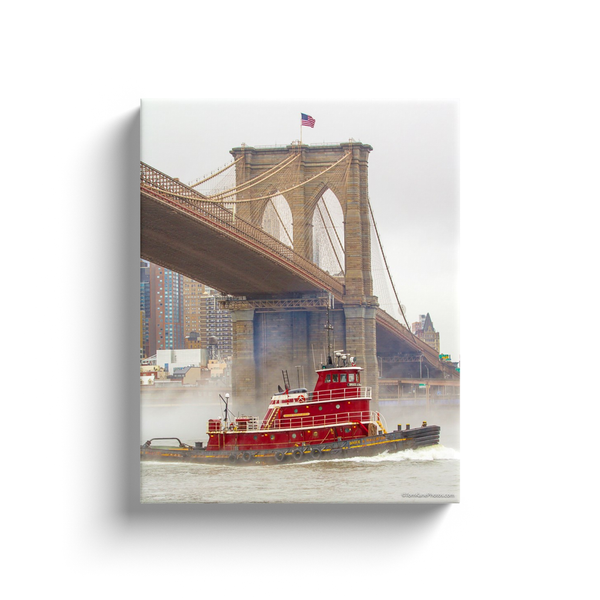 """Brooklyn Bridge & Tugboat"" Canvas Wraps"