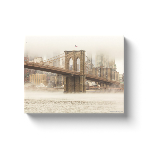 """Brooklyn Bridge in the Fog"" Version II Canvas Wraps"