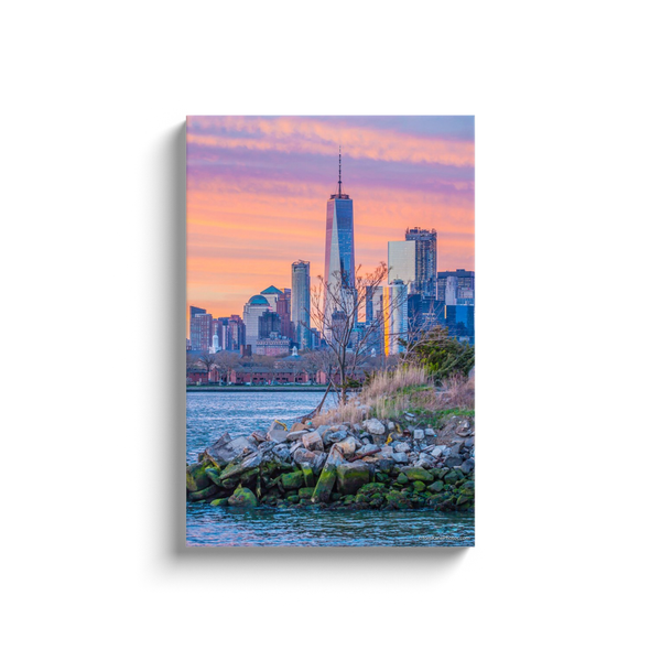 """Pink Freedom Tower, NYC"" Canvas Wraps"
