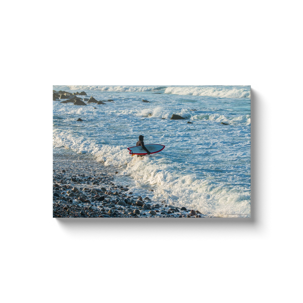 """Surfing Point Judith, Rode Island"" Canvas Wraps"