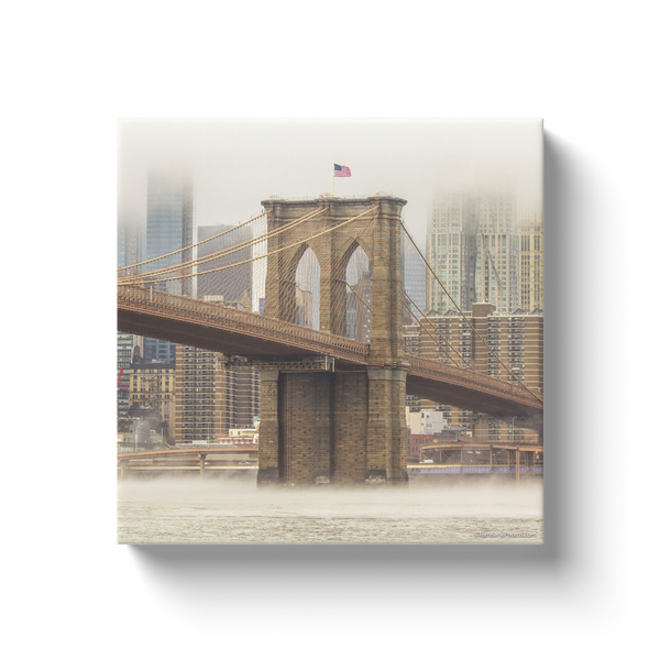 """Brooklyn Bridge in the Fog"" Canvas Wraps"