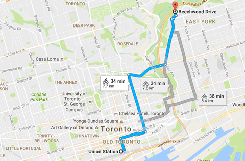 Downtown Toronto to Cottonwood Flats map