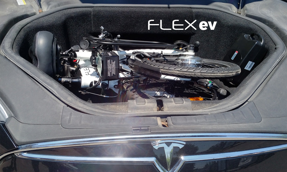 Revelo FLEX folding electric bike in a Tesla S trunk
