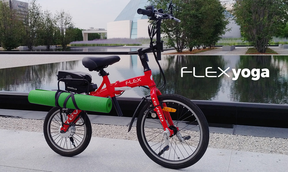 Revelo FLEX folding electric bike fun commute to yoga class