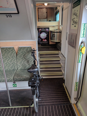 Commuting with Revelo FLEX folding ebike on GO train