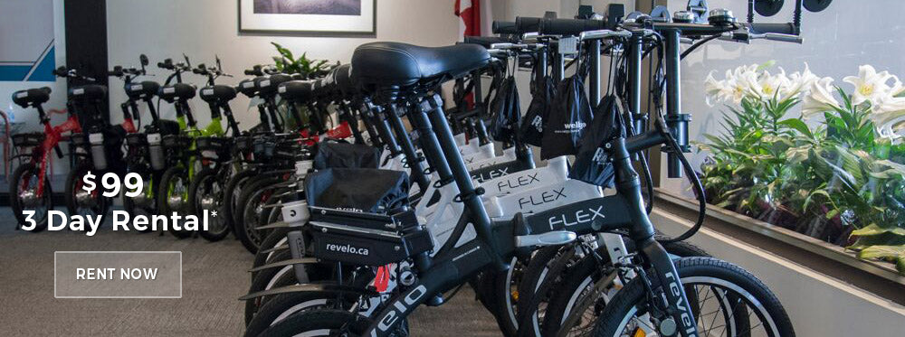 Revelo FLEX folding electric bike rentals in Toronto, Canada