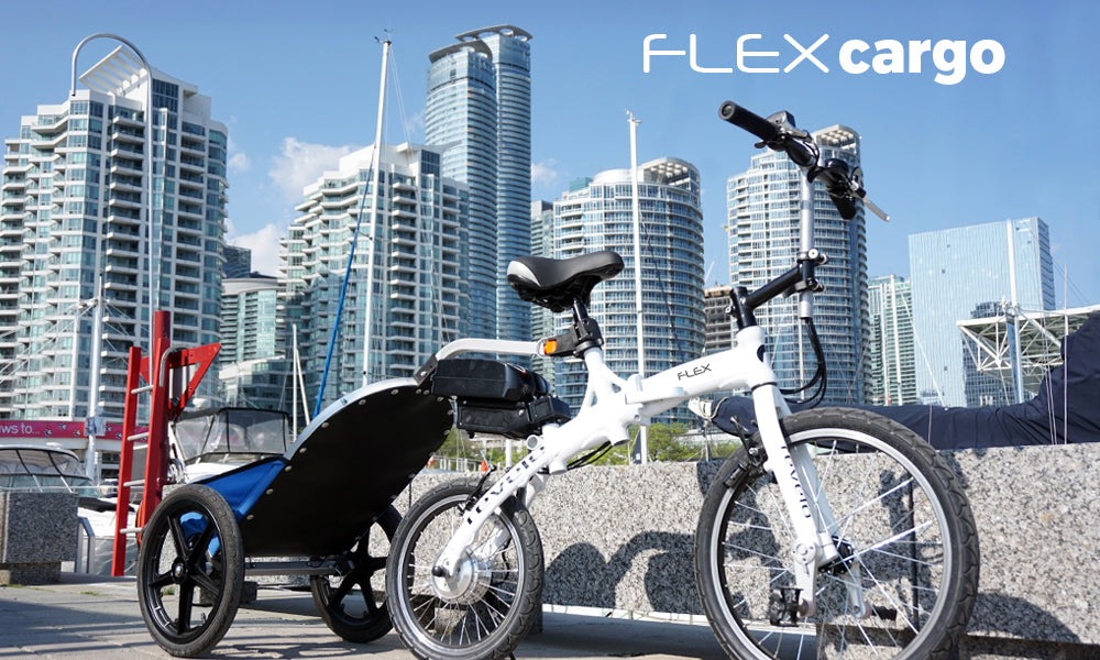 Revelo FLEX folding electric bike with aero trailer for up to 50 lbs of extra hauling capacity