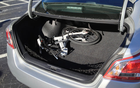 Compact, Revelo FLEX electric bike in car trunk