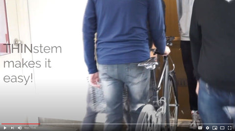 Revelo THINstem - slide your bike into the elevator, portable bike storage solution