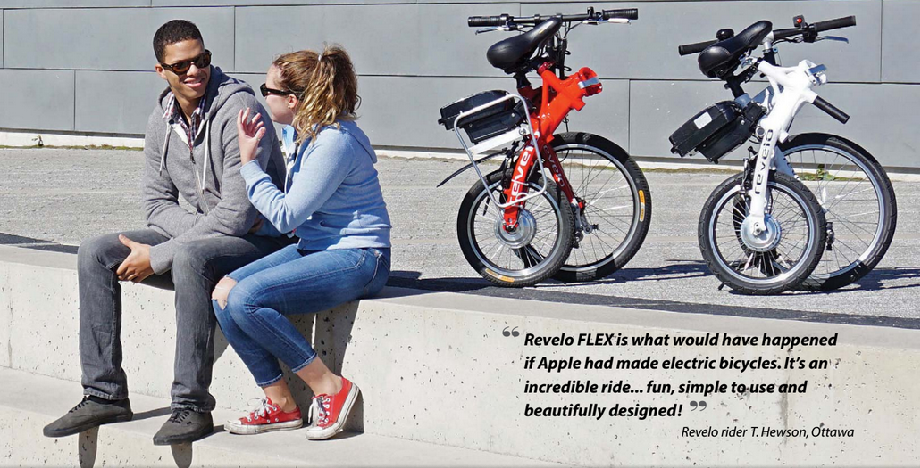 Revelo FLEX 2015 sales kit, the world's smartest folding, portable electric bike. Designed in Toronto, Canada.