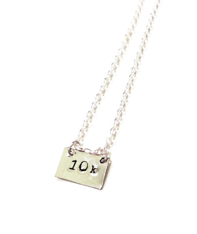 CUSTOM Hand-Stamped Square Race Necklace! 5k, 10k, 13.1k, 26.2k