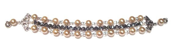 Timeless 3 Strand Pearl and Crystal Beaded Bracelet