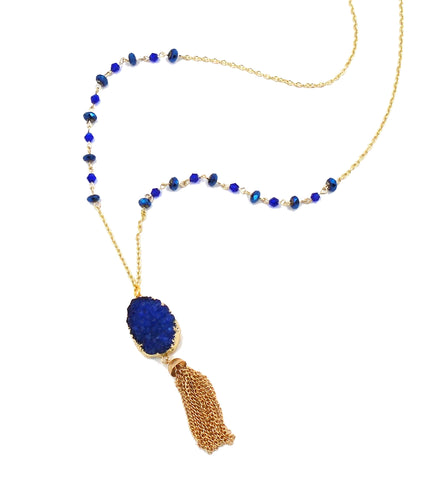 Blue Druzy Tassle Necklace