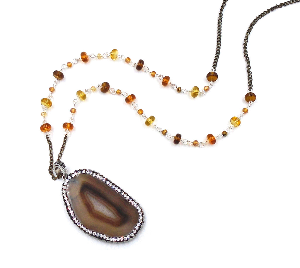 Brown/Amber Agate Necklace