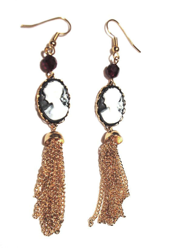 Gold Cameo and Tassel Earrings