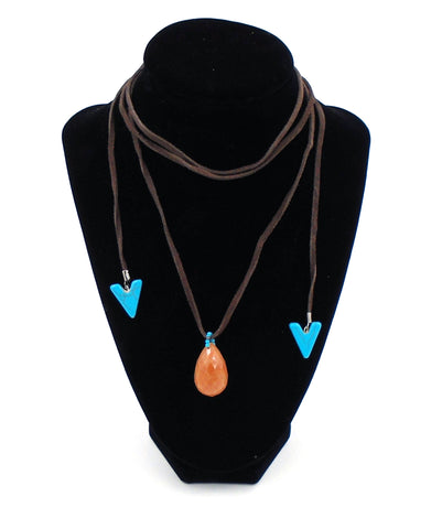 Suede and Stone Wrap Necklace