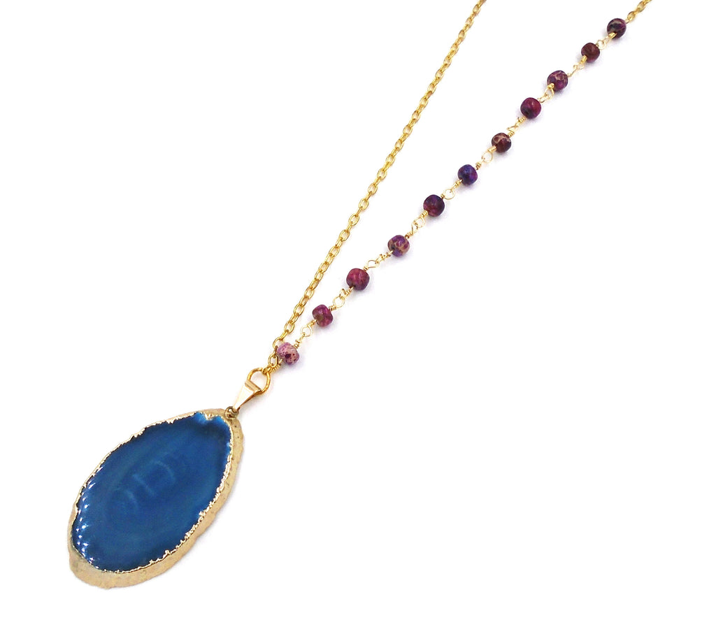 "24K Gold-Dipped Blue ""Agate Slice"" Necklace"
