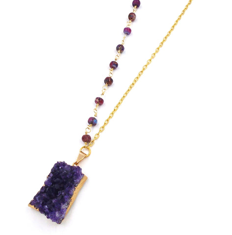 Gold-Dipped Amethyst Chunk Necklace