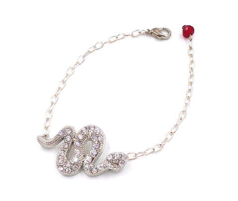 Silver-Plated Crystal Serpent Bracelet
