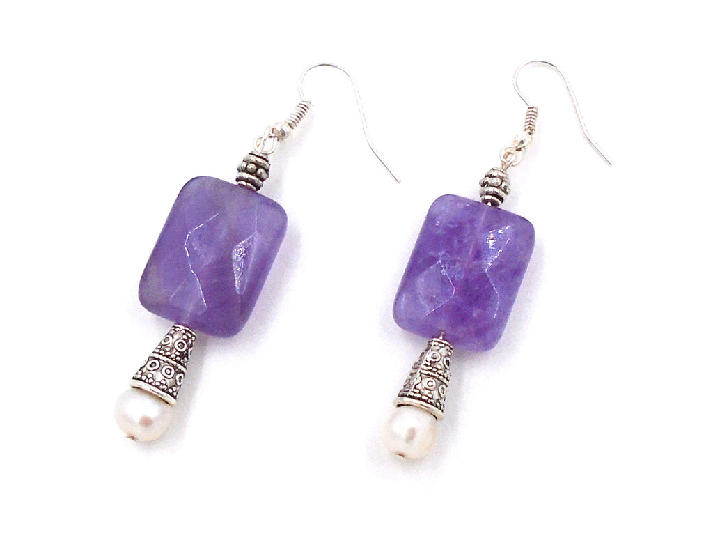 Purple Quartz and Freshwater Pearl Hanging Earrings