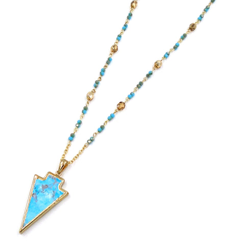 Turquoise Howlite Arrowhead Necklace