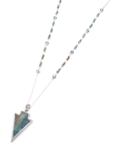 Green/Brown Agate Arrowhead Necklace