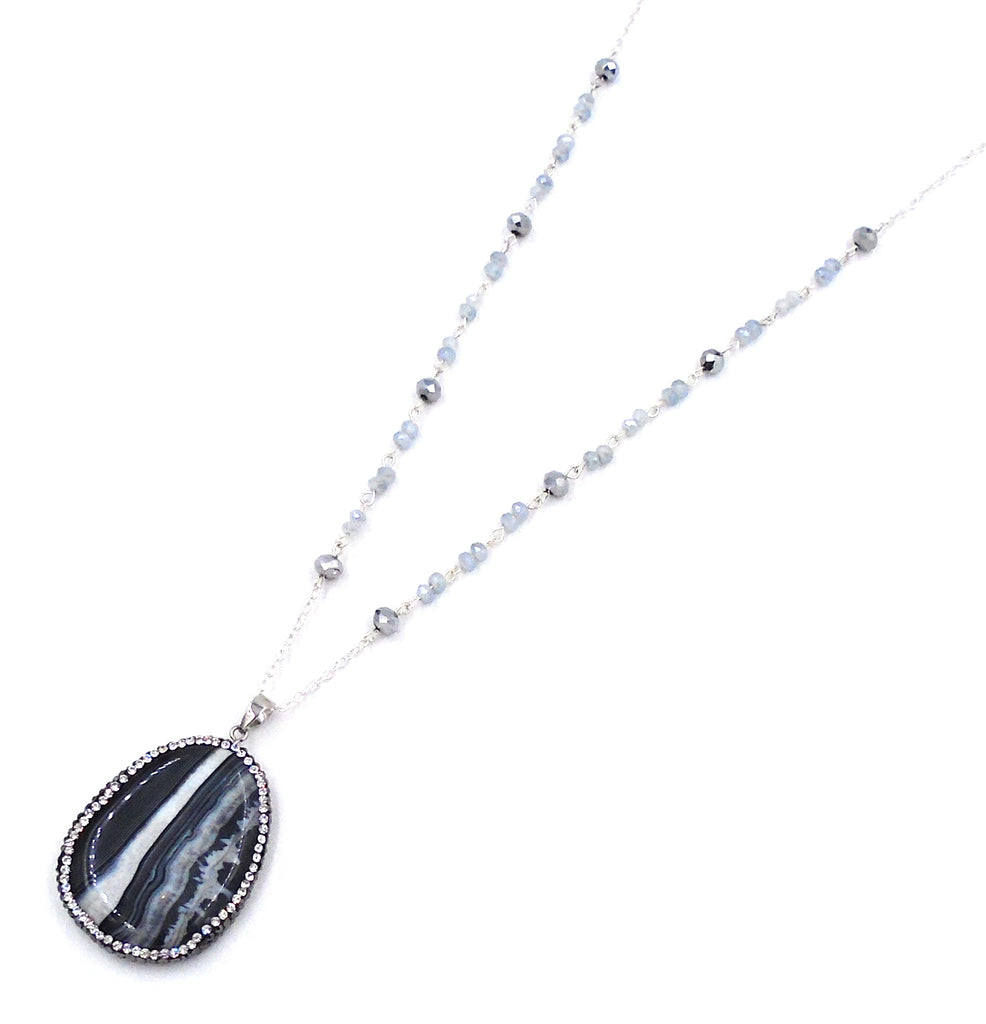 Black and White Agate Necklace