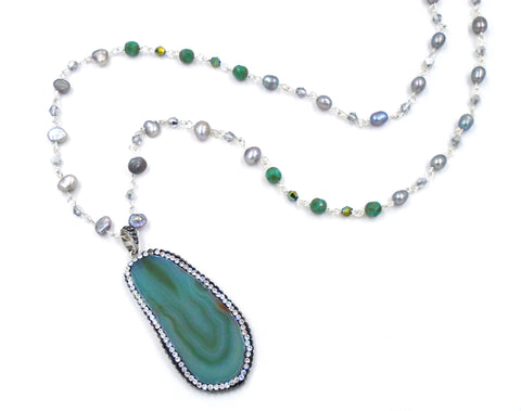 Green Agate and Freshwater Pearl Necklace