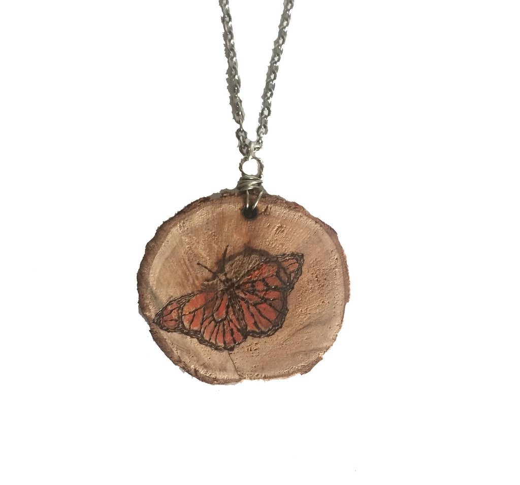 Wood-Burned Butterfly Necklace