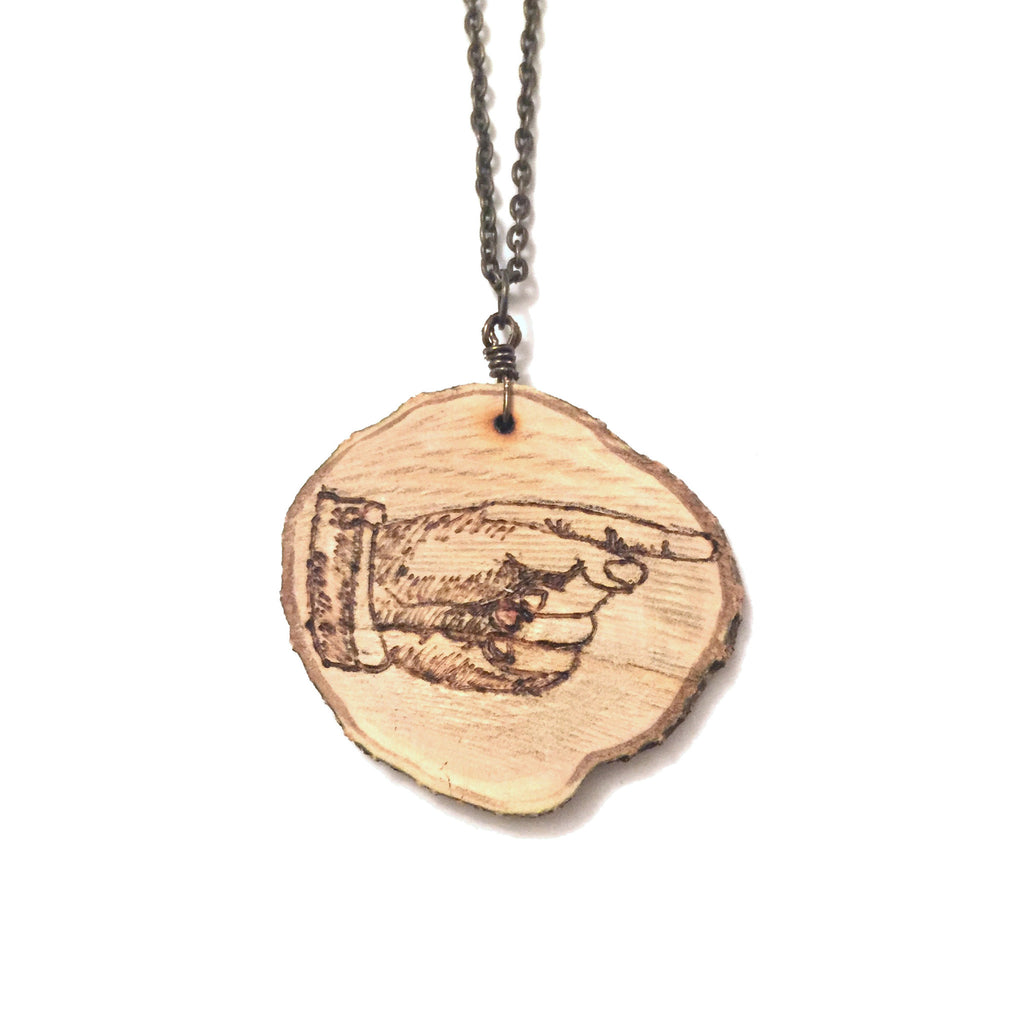 Wood-Burned Pointing Hand Necklace