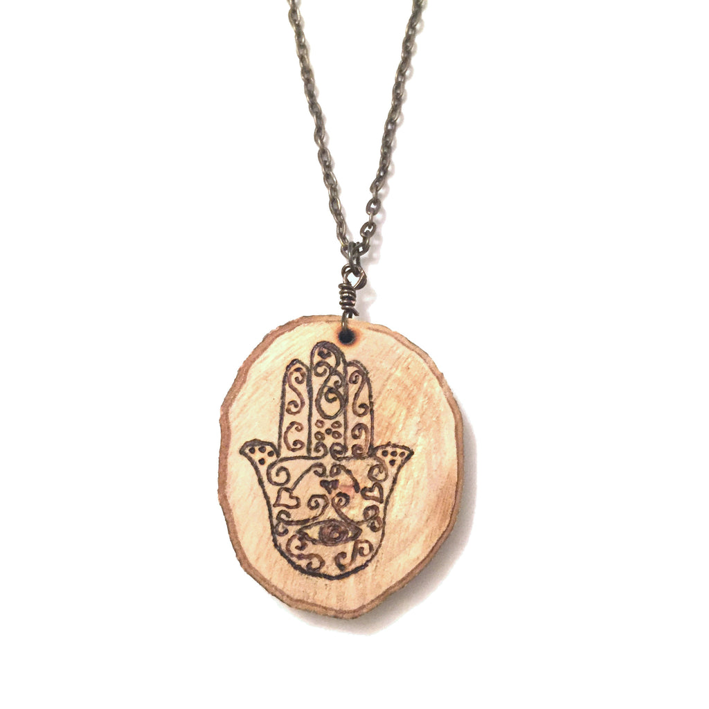 Wood-Burned Hamsa Necklace
