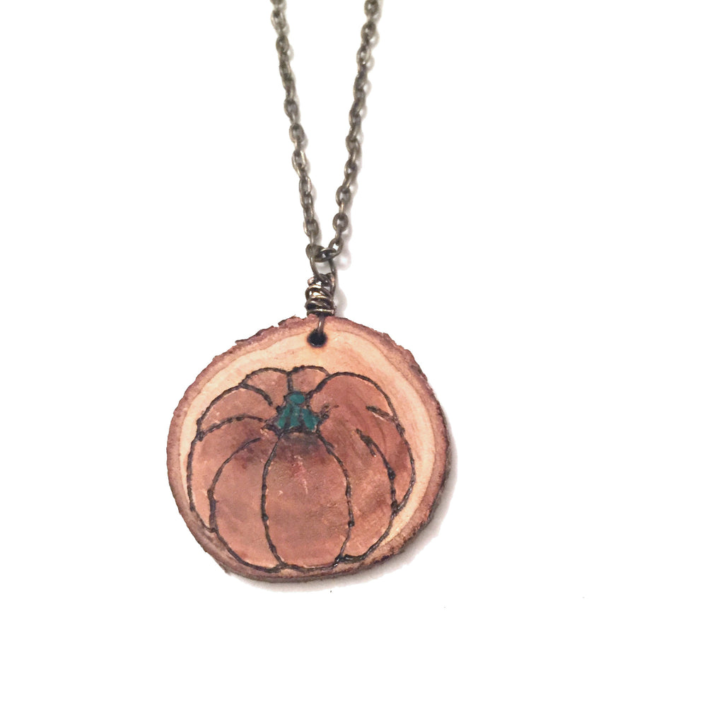 Wood-Burned Pumpkin Necklace