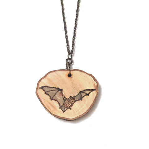 Wood-Burned Bat Necklace