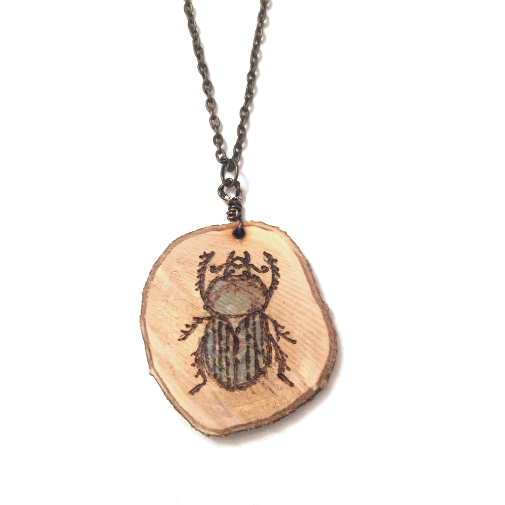 Wood-Burned Beetle/Scarab Necklace