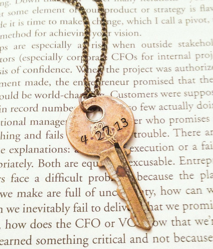 hand stamped personalized key necklace made by mills