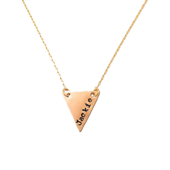 Custom Brass Triangle Tag Necklace