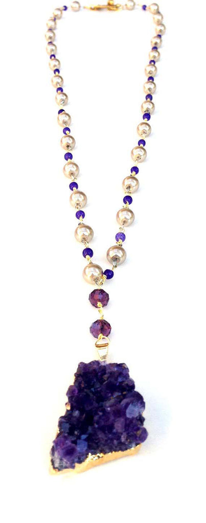 Gold-Dipped Amethyst and Pearl Necklace