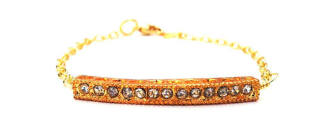 "Yellow Gold Crystal ""Bar"" Bracelet"