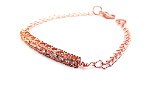 "Rose Gold Crystal ""Bar"" Bracelet"