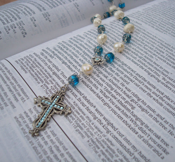 Swarovski Crystal and Pearl Cross Necklace